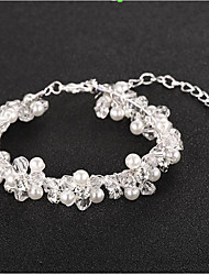 cheap -Women's Crystal Imitation Pearl Pearl Floral Flower 1pc Bracelet - Floral Fashion European Silver Bracelet For Wedding Daily