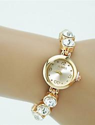 abordables -Femme Quartz Bracelet de Montre Strass Imitation de diamant Alliage Bande Charme Elégant Mode Doré