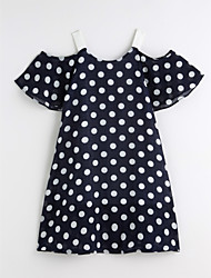 cheap -Girl's Daily Polka Dot Dress Summer Cute Basic Black Royal Blue