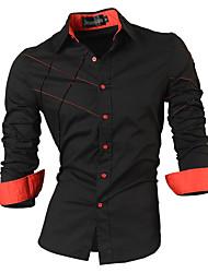 Недорогие -Муж. Рубашка Хлопок Тонкие Уличный стиль Однотонный / Длинный рукав