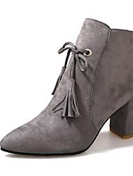 baratos -Mulheres Sapatos Pele Nobuck Outono / Inverno Conforto / Botas da Moda Botas Salto Robusto Botas Curtas / Ankle Preto / Cinzento / Camel