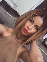 cheap -Unprocessed Human Hair Lace Front Wig Brazilian Hair Straight Blonde Wig Bob Haircut / Short Bob 130% Ombre Hair / Dark Roots Blonde Women's Short / Long / Mid Length Human Hair Lace Wig