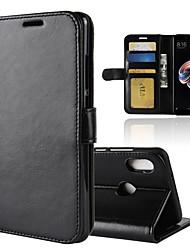 Недорогие -Кейс для Назначение Xiaomi Redmi Note 5 Pro Redmi 5 Plus Бумажник для карт Кошелек со стендом Флип Магнитный Чехол Однотонный Твердый