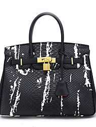 cheap -Women's Bags PU Leather Tote Embossed Crocodile White / Black