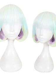 Недорогие -Парики из искусственных волос Жен. Прямой Зеленый Стрижка каскад Искусственные волосы Природные волосы Зеленый Парик Короткие Без шапочки-основы Радужный