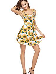 povoljno -Žene Ulični šik Korice Haljina Cvjetni print Mini