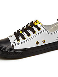baratos -Mulheres Sapatos Micofibra Sintética PU Primavera Outono Conforto Tênis Salto Baixo para Casual Rosa e Branco Branco/Amarelo