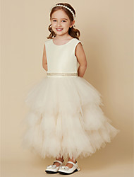 cheap -A-Line Ankle Length Flower Girl Dress - Satin Tulle Sleeveless Jewel Neck Scoop Neck with Sash / Ribbon by LAN TING BRIDE®