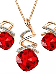 cheap -Cubic Zirconia Jewelry Set - Drop, Lips European Include Purple / Red / Blue For Daily / Earrings