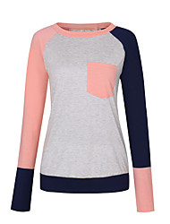 cheap -Women's Holiday Active / Basic Cotton Loose T-shirt - Color Block Patchwork / Spring / Summer