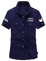Недорогие -Муж. Классический Большие размеры - Рубашка Хлопок, Классический воротник Тонкие Армия Однотонный / С короткими рукавами