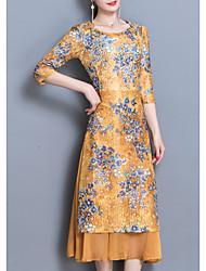 Недорогие -Жен. Большие размеры Тонкие Оболочка Платье - Цветочный принт Средней длины