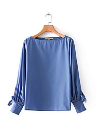 voordelige -Dames Vintage Kwastje Overhemd Effen