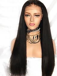 Недорогие -Remy / Натуральные волосы Лента спереди Парик Бразильские волосы Прямой Парик 130% С детскими волосами / Природные волосы / Парик в афро-американском стиле Черный Жен. Длинные