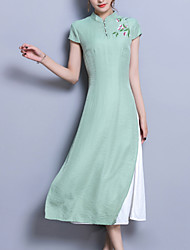 povoljno -Žene Kinezerije Tunika Haljina Jednobojni Midi