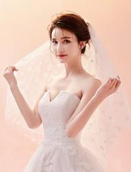 Недорогие -Два слоя 3D принт / вуаль Свадебные вуали Фата до локтя с Вышивка бисером в виде цветов / Отделка Тюль / Классическая