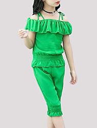 abordables -Fille Quotidien Couleur Pleine Ensemble de Vêtements, Polyester Eté Manches Courtes Actif Vert Jaune
