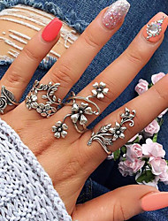 abordables -Ensemble d'anneaux - Alliage Forme de Feuille, Fleur Basique, Mode 7 Argent Pour Quotidien / Rendez-vous