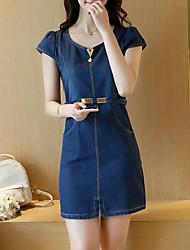 abordables -Femme Grandes Tailles Sortie Coton Mince Moulante Toile de jean Robe Couleur Pleine Mini