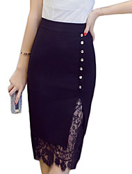 cheap -Women's Plus Size Pencil Skirts - Solid Colored Lace Patchwork