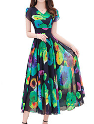 Недорогие -Жен. Большие размеры Праздники Богемный / Изысканный Тонкие Оболочка Платье - Цветочный принт, С принтом V-образный вырез Средней длины