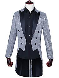 cheap -Men's Party Club Long Slim Blazer-Color Block,Sequins Notch Lapel / Long Sleeve