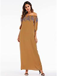 preiswerte -Damen Grundlegend Boho Etuikleid Kleid - Bestickt, Solide Maxi