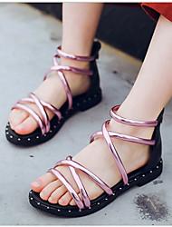 abordables -Fille Chaussures Polyuréthane Eté Chaussures de Demoiselle d'Honneur Fille Sandales pour Enfants Or / Argent / Rose