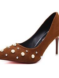 preiswerte -Damen Schuhe Silikon Kunststoff Frühling Sommer Komfort High Heels Stöckelabsatz Spitze Zehe Perlenstickerei für Normal Büro & Karriere