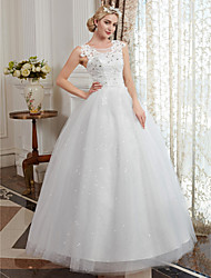 cheap -Ball Gown Scoop Neck Floor Length Tulle / Beaded Lace Made-To-Measure Wedding Dresses with Appliques by LAN TING BRIDE® / Sparkle & Shine