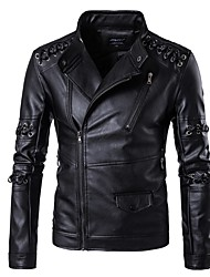 cheap -Men's Punk & Gothic Street chic Leather Jacket - Solid Colored