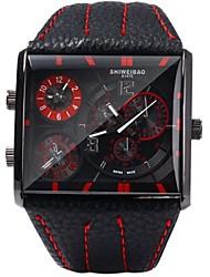 Недорогие -SHI WEI BAO Муж. Спортивные часы Армейские часы Японский Кварцевый С двумя часовыми поясами Кожа Группа Аналоговый На каждый день Мода Черный / Коричневый - Кофейный Красный Синий / Один год