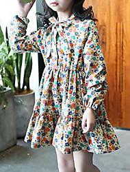 abordables -Vestido Chica de Floral Algodón Rayón Manga Larga Primavera Otoño Vintage Casual Caqui