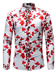 baratos -Homens Tamanhos Grandes Camisa Social Moda de Rua Estampado, Floral / Estampa Colorida Delgado / Manga Longa