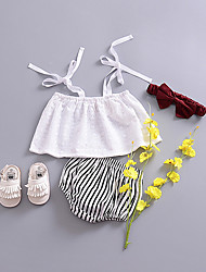 cheap -Girls' Daily Solid Colored Blouse, Polyester Summer Sleeveless Cute White