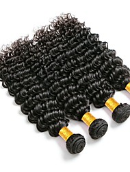 cheap -Peruvian Hair / Deep Wave Curly / Deep Wave Unprocessed Human Hair / Virgin Human Hair Gifts / Human Hair Extensions 4 Bundles Human Hair Weaves Hot Sale / For Black Women / Coloring Natural Black