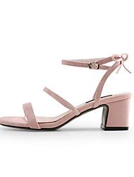 preiswerte -Damen Schuhe Leder Sommer Pumps Komfort Sandalen Blockabsatz für Normal Schwarz Blau Rosa