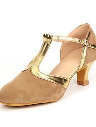 cheap -Women's Modern Shoes Suede Heel Splicing Customized Heel Customizable Dance Shoes Brown / Black / Gold / Blue / Indoor