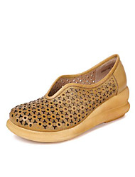 abordables -Femme Chaussures Cuir Printemps Eté Confort Mocassins et Chaussons+D6148 Hauteur de semelle compensée Bout rond pour Vert Véronèse Kaki