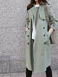 cheap -Women's Cute Trench Coat-Solid Colored