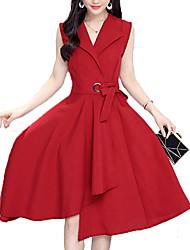 baratos -Mulheres Sofisticado Moda de Rua Bainha balanço Vestido Sólido Altura dos Joelhos
