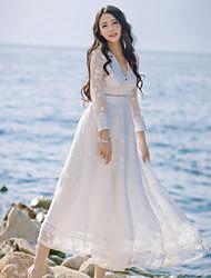 baratos -Mulheres Feriado balanço Vestido - Renda, Sólido Decote V Longo / Verão