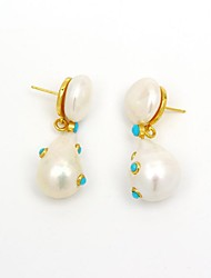 cheap -Women's Drop Onyx / Pearl Pearl / Gold Plated / S925 Sterling Silver Drop Earrings - Vintage / Fashion Green / Blue Irregular Earrings For