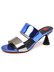 cheap -Women's Shoes PU(Polyurethane) Spring / Summer Gladiator Sandals Chunky Heel Square Toe Rhinestone Red / Green / Blue
