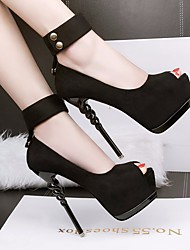 preiswerte -Damen Schuhe Nubukleder Frühling Herbst Pumps Komfort High Heels Stöckelabsatz Peep Toe für Schwarz Grau Rosa