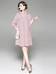 abordables -Mujer Básico Línea A Vestido - Retazos, Un Color Hasta la Rodilla