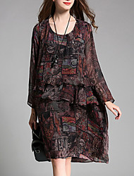 cheap -Women's Plus Size Street chic Chiffon Dress - Floral Ruffle High Waist