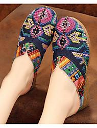 cheap -Women's Shoes Linen Spring / Fall Comfort Clogs & Mules Flat Heel Red / Blue