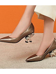 povoljno -Žene Cipele Lakirana koža Proljeće Udobne cipele Cipele na petu Heterotipski peta za Kauzalni Crn Svjetlosmeđ