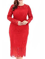 abordables -Femme Grandes Tailles Mince Moulante Robe Couleur Pleine Taille haute Midi